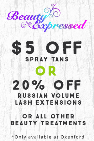 Beauty Expressed $5 Off Spray Tan, 20% off Russian Volume Lash Extensions, 20% Off All Other Beauty Treatments