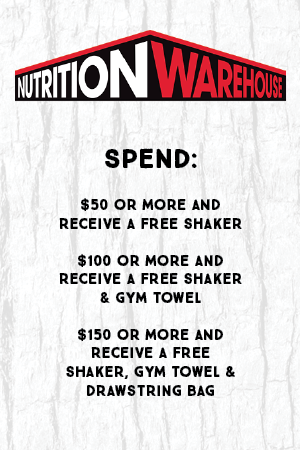 Spend $50 or more and receive a free shaker. Spend $100 or more and receive a free shaker and gym towel. Spend $150 or more and receive a free shaker, gym towel and drawstring bag.