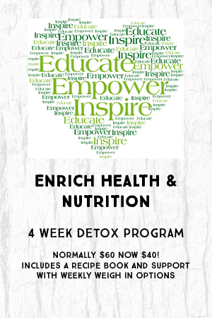 4 week detox program. Normally $60 now $40! Includes a recipe book and support with weekly weigh in options.
