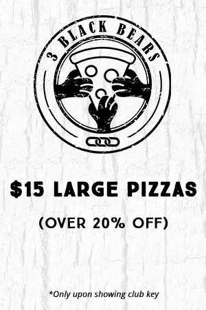 3 bears $15 Large Pizzas