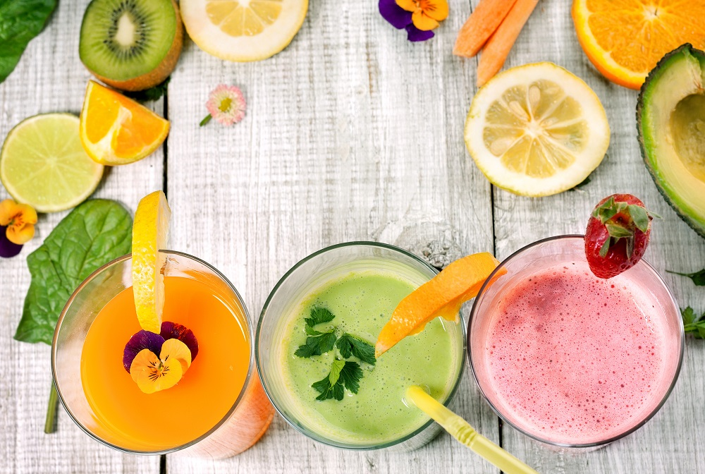 healthy smoothies and juice with fresh fruit and vegetables