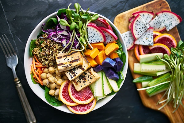 colourful healthy food bowl
