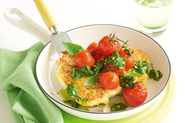 corn-ricotta-cakes-grilled-tomatoes